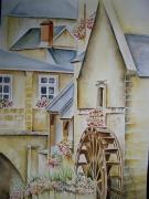 tableau paysages aquarelle bayeux aquarelle fleurs aquarelliste marie ,c aquarelle geraniums : Bayeux la rivière l'Aure