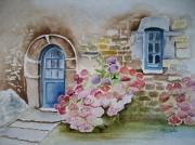 tableau fleurs aquarelle fleurs aquarelle maison aquarelle paysage bretagne : Maison bretonne