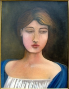 tableau personnages jeune femme decollete chemise blanhe chale bleu : portrait de jeune femme