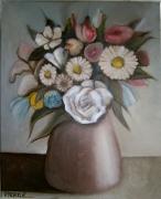 tableau fleurs bouquet fleurs vase conique : fleurs dans un vase un peu conique