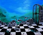 tableau paysages paysage mosaique grille : Paysage avec grille