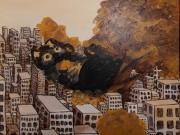 tableau animaux chiot immeuble ville : boule de poils beige