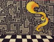 tableau autres mosaique noir et blanc drap : drap jaune