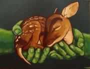 tableau animaux faon mains bebe : Faon