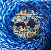 tableau animaux poissons ville mer : banc de poissons