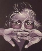 tableau personnages enfant mains fille portrait : petite fille violette