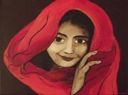 tableau personnages enfant voile rouge portrait : fille au voile rouge