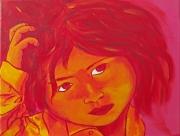 tableau personnages petite fille enfant portrait : petite fille se gratte