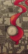 tableau nature morte montre drap mosaique pendule : Montre suspendue