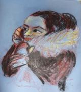 dessin personnages femme telephone pastel portrait : femme au téléphone