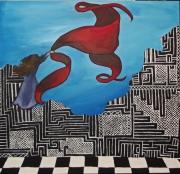 tableau paysages drap mosaique noir et blanc femme : drap rouge