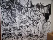 deco design scene de genre fresque soldats guerre : fresque soldats