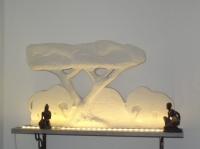 elephant sur coucher de soleil