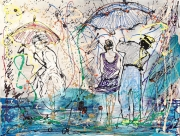 tableau scene de genre hopper edwigecol plage mer : Colors in the rain vendu