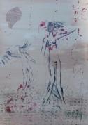 tableau abstrait peinture design moderne acrylique vernis art : MERE ET FILLE