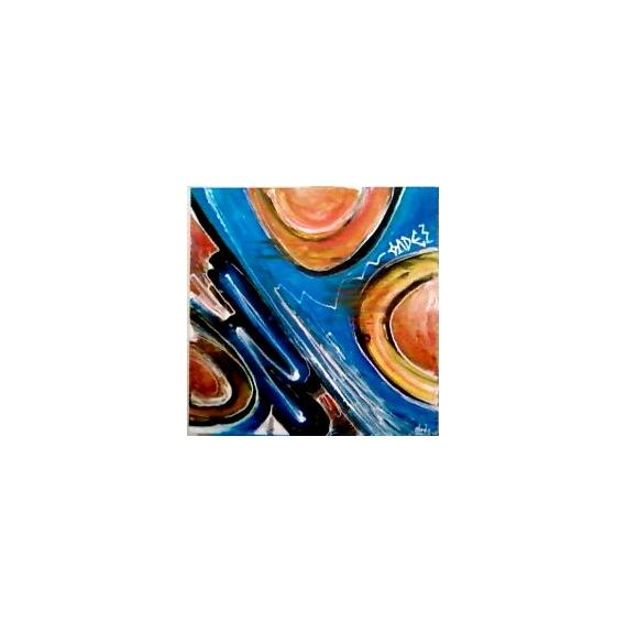 TABLEAU PEINTURE abstrait orange bleu Abstrait  - Monde?