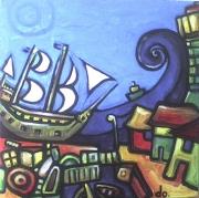 tableau marine port bateau colore : un port