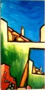 tableau architecture ete maison ciel colore : été