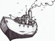dessin marine navire bateau : bateau volant