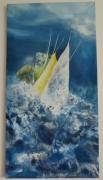 tableau marine voilier huile marine mer : Voiles en mouvement