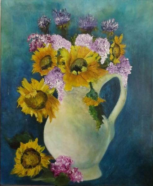 TABLEAU PEINTURE tournesol lilas bouquet nature morte Nature morte Peinture a l'huile  - Quand lilas et tournesols se rencontrent