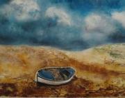 tableau paysages barque dune paysage : Barque échouée sur la dune