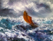 tableau marine marine voilier tempete ciel : Tourmente