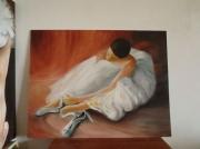 tableau personnages danseuse huile ballerine : Danseuse