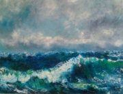 tableau marine mer marine ciel vent : Vague au vent