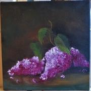tableau lilas fleurs nature morte : Lilas