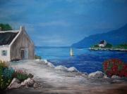 tableau marine mer bretagne paysage bateau : coin de paradis
