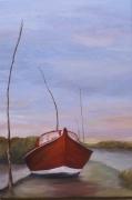 tableau marine pinasse quai bassin arcachon : pinasse à quai