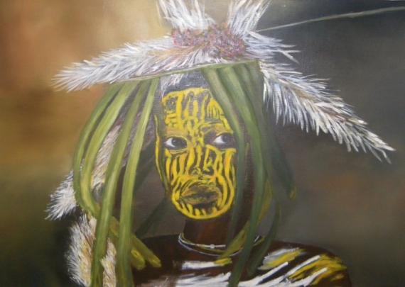 TABLEAU PEINTURE Personnages Peinture a l'huile  - jeune ethiopien de la vallée de l' OMO