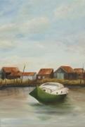tableau marine pinasse cabane en bois : port du bassin d' arcachon