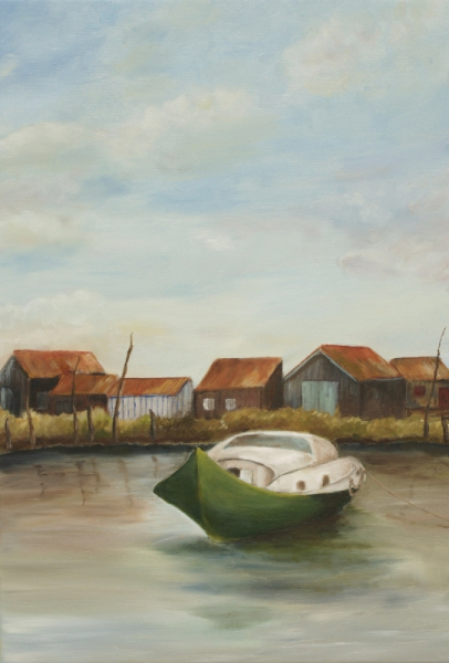 TABLEAU PEINTURE pinasse cabane en bois Marine Peinture a l'huile  - port du bassin d' arcachon