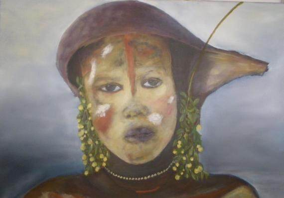 TABLEAU PEINTURE Personnages Peinture a l'huile  - jeune fille de la vallée de l' OMO'