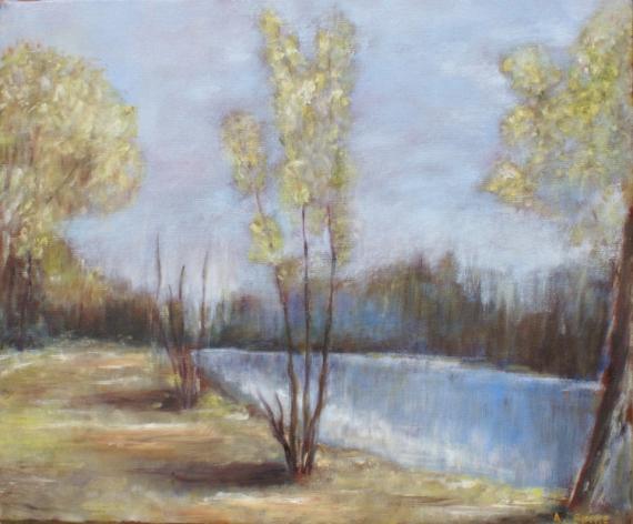 TABLEAU PEINTURE etang campagne Paysages Peinture a l'huile  - étang