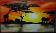 tableau paysages chaud afrique animaux orange : africawarm