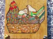 tableau animaux poule poussin panier paques : Poule