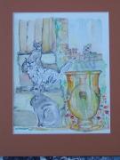 tableau animaux chats vase provence anduze : Les chats de Provence