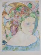 tableau personnages bijoux coiffure fleurs luxe : portrait de femme