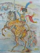 tableau scene de genre cheval napoleon guerre hussard : Grenadier à cheval