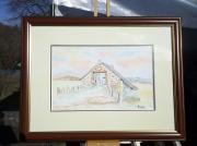 tableau architecture grange pyrenees aquarelle tableau : La bergerie des pyrénées.