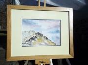 tableau paysages pyrenees montagne randonneurs aquarelle : 2 randonneurs en montagne.