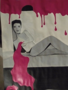 tableau personnages nu rose acrylique : dans la peinture