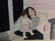 tableau personnages enfant poupee rose sourire : sourire d enfant