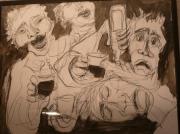 dessin personnages estaminet sur le vif : chansons à boire