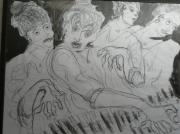 dessin sur le vif musique concert : la pianiste