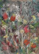tableau : tulipes, cinéraires et ombelles