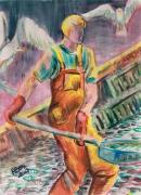 tableau pecheur goelands matin poisson : Le jeune pêcheur